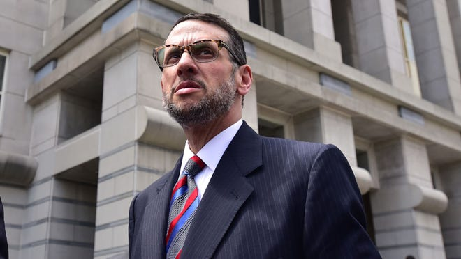 David Wildstein exits the federal courthouse in Newark after pleading guilty to two counts of conspiracy in May 2015.