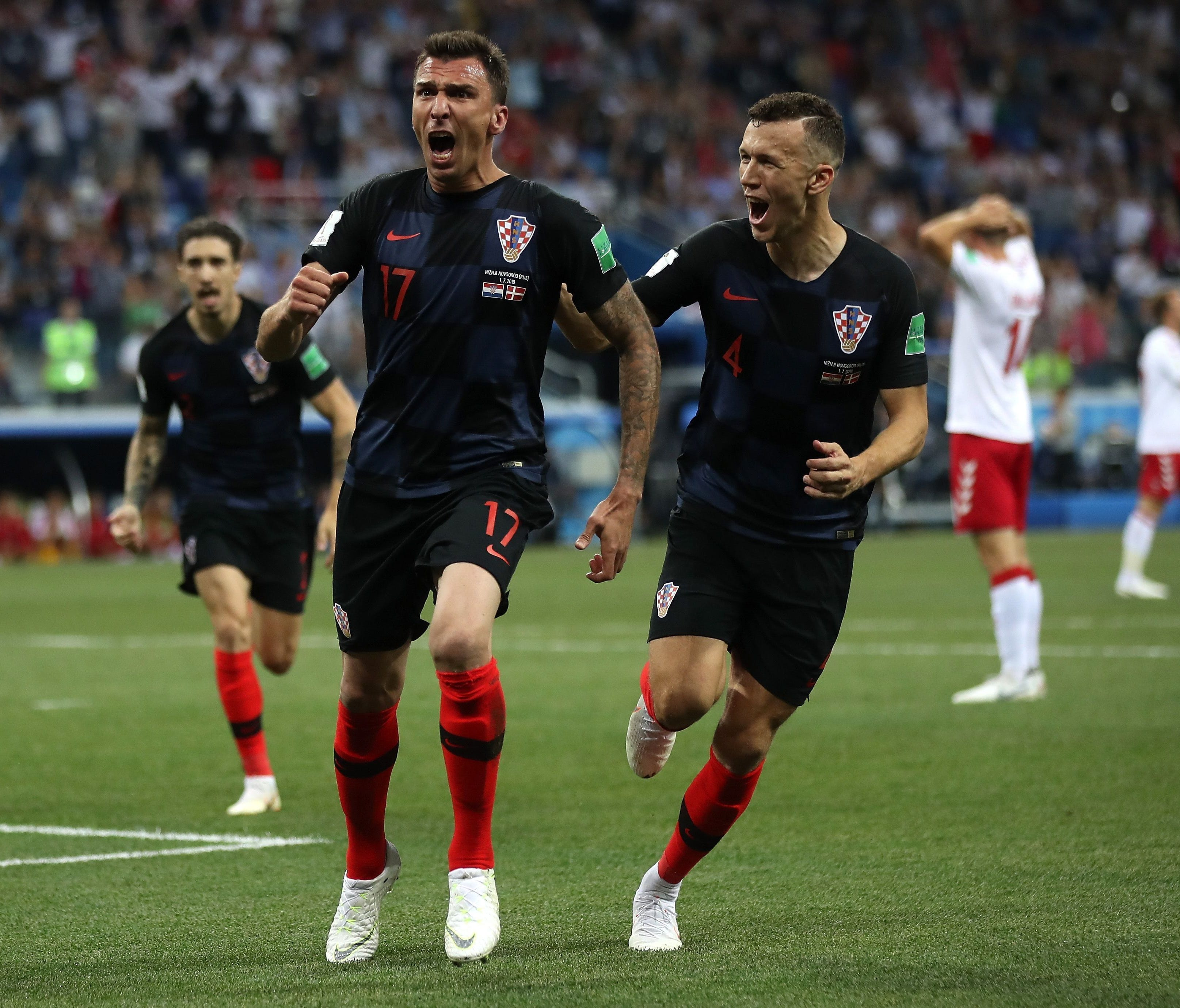Mario Mandzukic of Croatia celebrates after scoring his team's first goal against Denmark in the round of 16 at the World Cup.