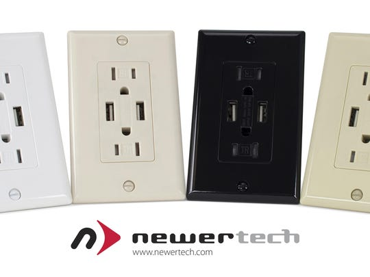 The Power2U dual USB wall outlet has traditional and USB ports, allowing you to charge four devices at once. It costs about $25.