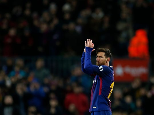 FC Barcelona's Lionel Messi applauds during the Spanish Copa del Rey round of 16 second leg soccer match between FC Barcelona and Celta de Vigo at the Camp Nou stadium in Barcelona, Spain, Thursday, Jan. 11, 2018. (AP Photo/Manu Fernandez)