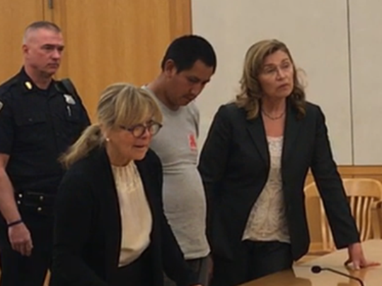 Esdras Marroquin Gomez, charged with second-degree murder in the 2015 slaying of North Salem socialite Lois Colley, flanked by his lawyer Cynthia Lobo, left, and a court interpreter in Westchester County Court on Monday.