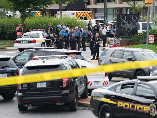 Police respond to a shooting in Annapolis, Maryland,