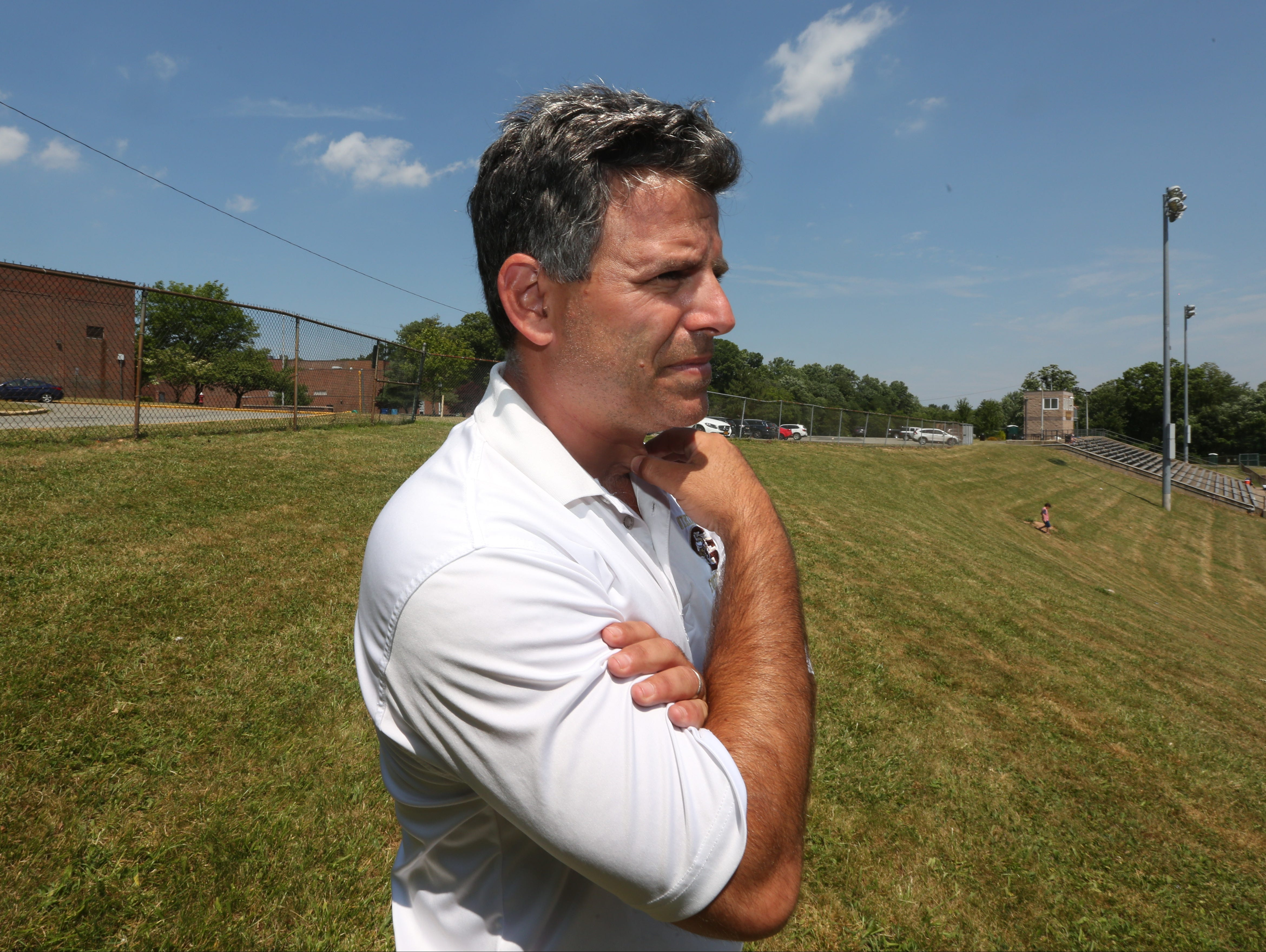 Clarkstown South football coach Mike Scarpelli.