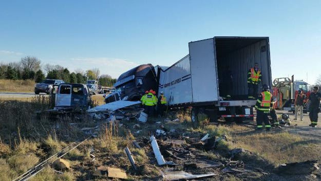 Southbound lanes of I-43 were closed at Highway 60 at 1:17 p.m. Tuesday, Nov. 7 after a semi-tractor trailerjackknifed into the median.