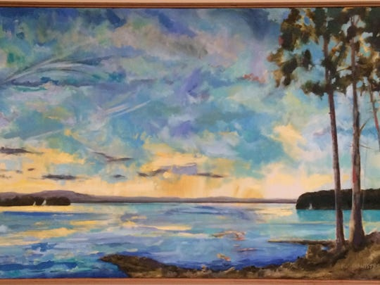Fourth panel of the Montstream painting of Shelburne Bay.