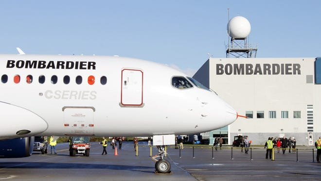 The bombardier CSseries aircraft  is shown in Mirabel, Quebec, on Sept. 16, 2013.