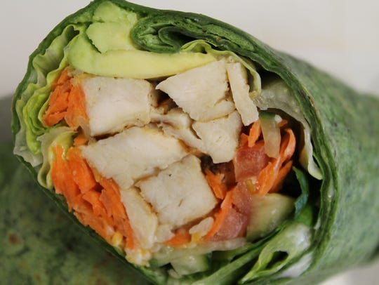 Snaps Wrap of grilled chicken with veggies, ranch dressing
