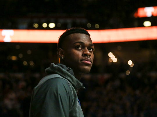 Jarred Vanderbilt looks out to the court during the player introductions before the in St. Louis. Vanderbilt is not expected to play while the Wildcats are in Boise for the NCAA tournament. March 11, 2018