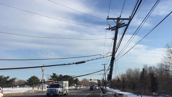 Part of Route 73 in Winslow Township was closed Saturday after a crash brought wires down onto the highway.