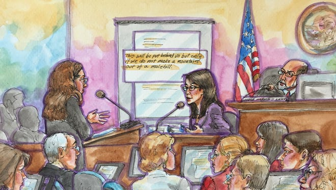 Ellen Pao testifies in San Francisco Superior Court, as she is questioned by her lawyer, Therese Lawless. Another of her lawyers, Alan Exelrod, is in the foreground.