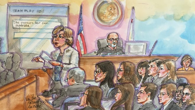 Lynne Hermle, lawyer for Kleiner Perkins Caufield & Byers, makes her closing remarks to the jury in the Ellen Pao sex discrimination case on March 25, 2015.