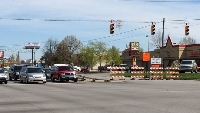 The intersection of South and Sagamore, where northbound lanes are closed between South and Union streets