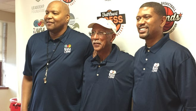 "Left to right: Derrick Coleman, Dave Bing and Jalen Rose mentor children at the ""Full Court Press: Prep for Success"" program at Calihan Hall on June 27, 2015."