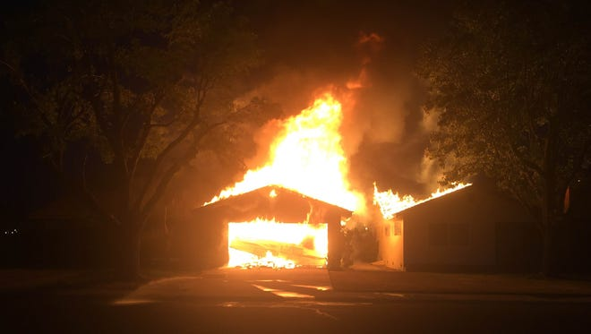 A Visalia home caught fire at approximately 8:45 p.m. Saturday night on South Terrace Street south of West Walnut Avenue.