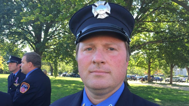 Andrew Ansbro, 43 of Pearl River worked at Engine 58 in Harlem on Sept. 11. It was his first call as a new firefighter.