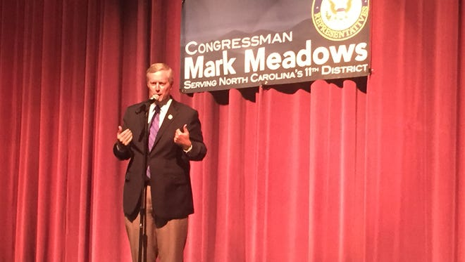 U.S. Rep. Mark Meadows gestures at a recent town hall meeting in Flat Rock