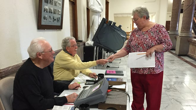 Absentee voting is under way at the Wayne County Clerk's Office at the Wayne County Courthouse.