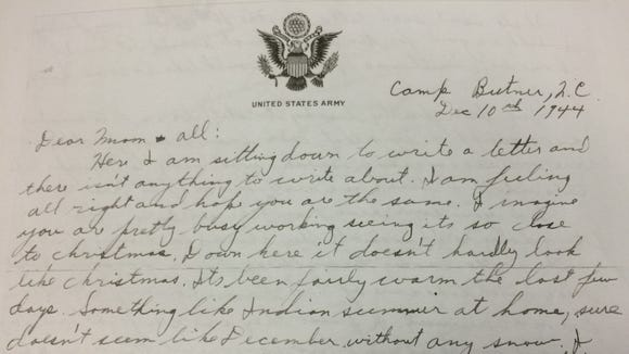 Private Wayne Clark wrote this letter on Dec. 10, 1944.