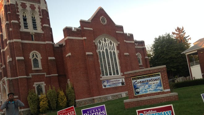 Political signs are seen in the front yard of Cornerstone Baptist Church at 629 S. Pershing Ave. in York. Turnout was low at York's voting wards in the Nov. 3 election.