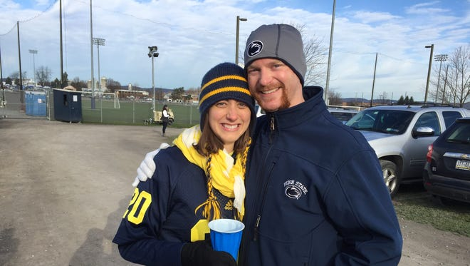 Colin and Melissa Appleton on Nov. 21, 2015, at State College, Pa.