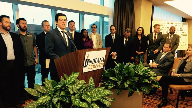 More than 150 Indiana businesses said Dec. 2, 2016, at the JW Marriott in Indianapolis that they've formed a coalition called Indiana Competes to lobby for the passage of civil rights protections for lesbian, gay, bisexual and transgender individuals.