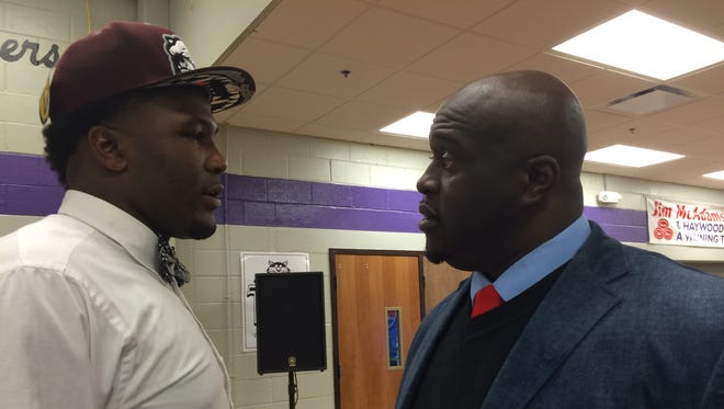 Haywood defensive lineman Emmit Gooden discusses his decision to commit to Mississippi State with Tomcats defensive coordinator Anthony Sawyer minutes after making his announcement Thursday night.