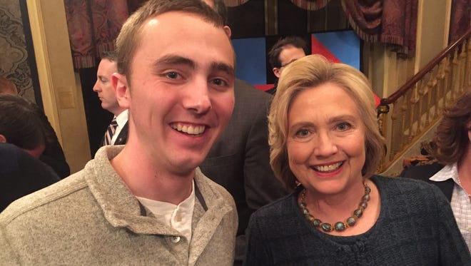 University of South Dakota student Malachi Petersen with former Secretary of State Hillary Clinton at a campaign event in Sioux City, Iowa.