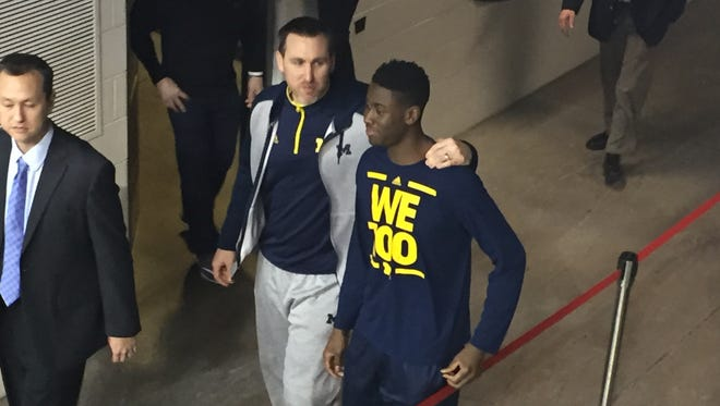 Caris LeVert did not warm up for Ohio State game Tuesday, Feb. 16, 2015.