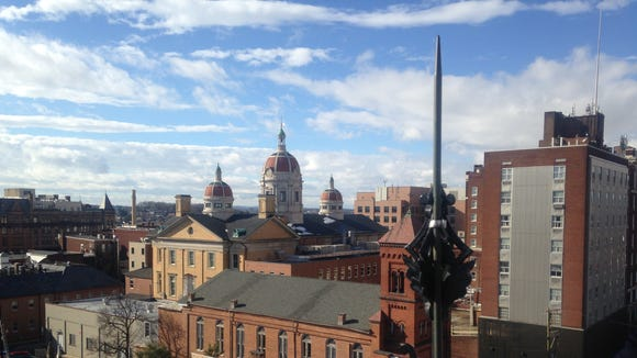 A view of downtown York from the cupola atop York City