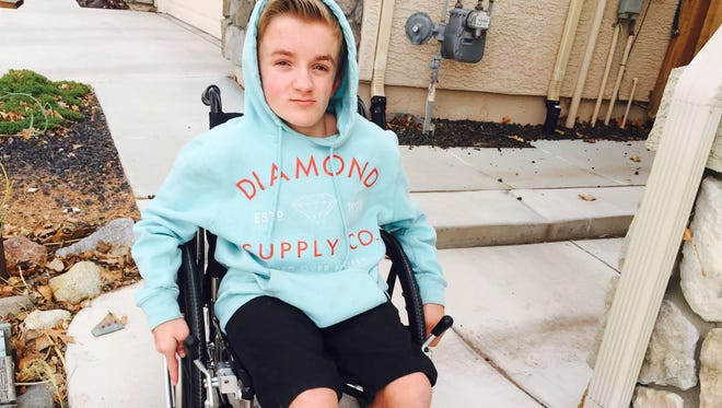 Tristin Hurley, 15, went back to school Wednesday in a rented wheelchair after his customized chair was stolen Monday morning from its locked post.