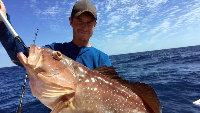 Derek Frederickson's eye-popping red grouper was three pounds shy of biggest of the day on his Offshore Hunter Charter to 115 feet of water Monday off Fort Myers Beach.