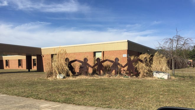 A scultpure outside of Beverley Manor Middle School, Augusta County's largest middle school and widest reaching.