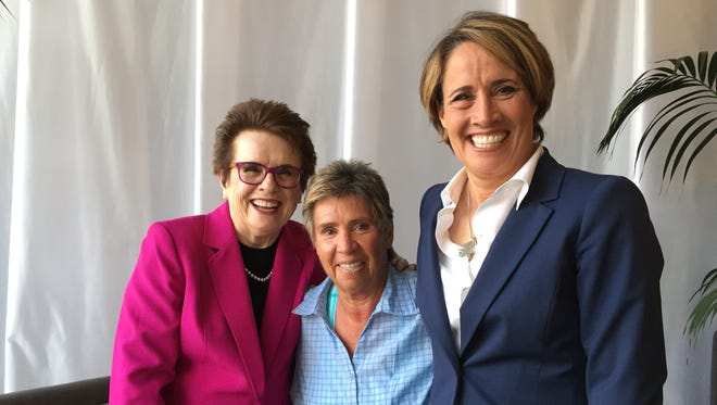 From left, Billie Jean King, Rosie Casals and sports analyst and reporter Mary Carillo at the Annalee Thurston Awards reception at the Indian Wells Tennis Garden on Sunday, March 13, 2016. Thurston, former Indio Chamber of Commerce manager and trailblazing woman sports executive, died May 8, 2007 after suffering a ruptured brain aneurysm at the age of 55.