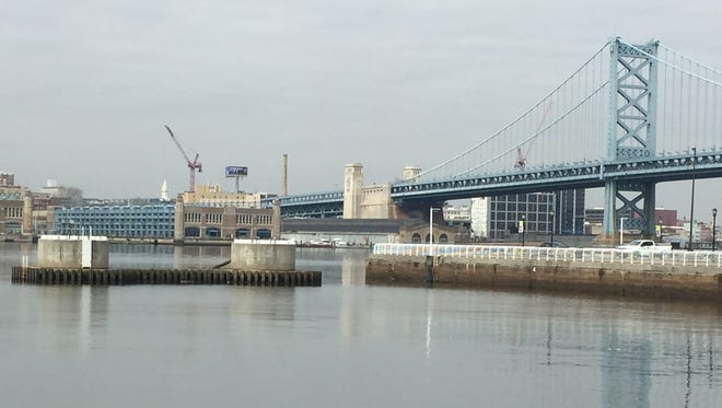 Two circular concrete anchors remain in the Delaware River along the Camden waterfront though the aerial tram they were supposed to support was never built by the Delaware River Port Authority. In anticipation of more riverfront projects, a developer wants to buy the aerial rights the DRPA holds i