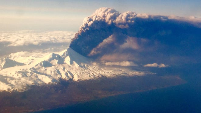 Pavlof Volcano, one of Alaska's most active volcanoes, erupts as seen in this photo from Sunday, March 27, 2016.