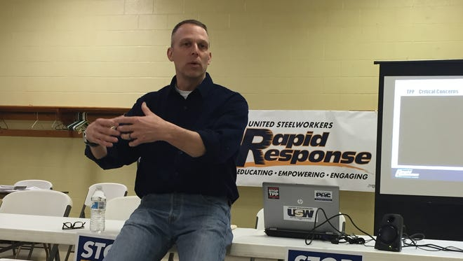 U.S. Representative Scott Perry, R-York County, explains to union members why he's against the Trans-Pacific Partnership trade deal. Perry spoke before about 40 people at a meeting Wednesday at United Auto Workers, Local 1872 in West Manchester Township