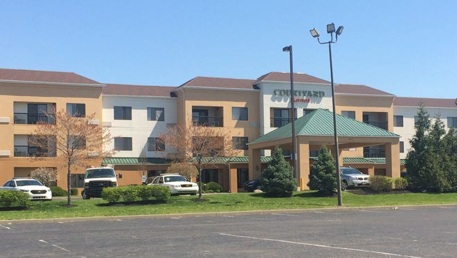 Courtyard Marriott hotel in the 4600 block of Southport Crossings Drive, where a woman was shot on Saturday, April 16, 2016. She was taken to Eskenazi Hospital for treatment of multiple gunshot wounds.
