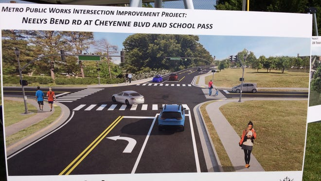 Rendering of proposed improvements to Neelys Bend Road at Cheyenne Blvd and School Pass