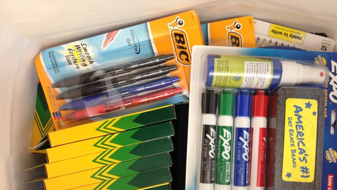 Dry erase markers, crayons, pens and more are some common donated school supplies.