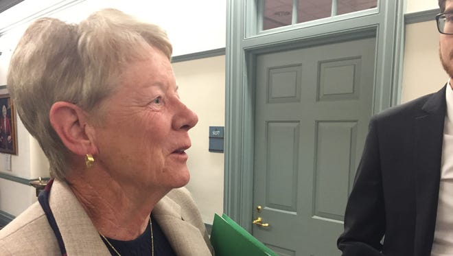 Sen. Karen Peterson, D-Stanton, tells reporters why she tabled a constitutional amendment guaranteeing equal protection on Tuesday, June 14, 2016.