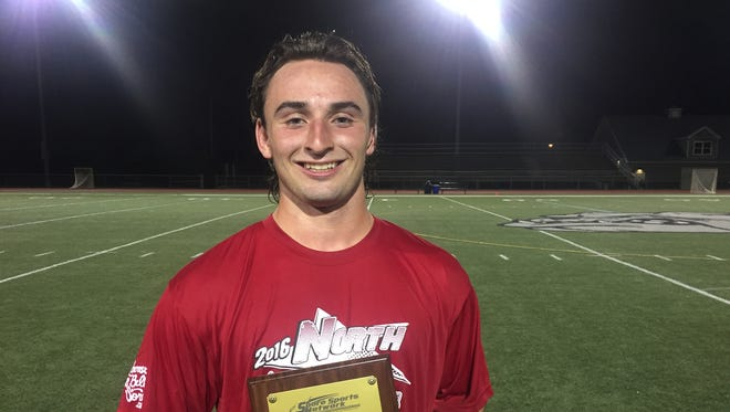 Rumson-Fair Haven's Butch Clark won the MVP award on June 15 at the Shore Conference Lacrosse Coaches Senior All-Star Game