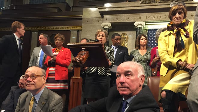 This photo provided by Rep. Chellie Pingree, D-Maine, shows Democrat members of Congress, including, front row, from left, Rep. Steve Cohen, D-Tenn., Rep. Joe Courtney, D-Conn., and Rep. Rosa DeLauro, D-Conn., during the sit-down protest seeking a vote on gun control measures.