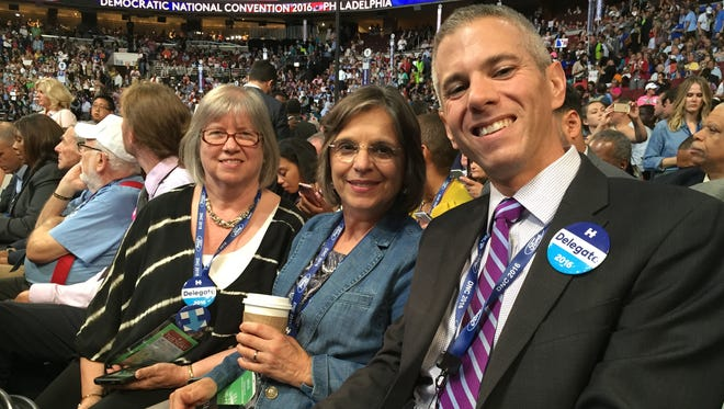 State Assemblywoman Barbara Lifton of Ithaca, (left), state Assemblywoman Donna Lupardo of Binghamton, and state Assemblyman Anthony Brindisi of Utica at the Democratic National Convention in Philadelphia on Tuesday, July 26, 2016.