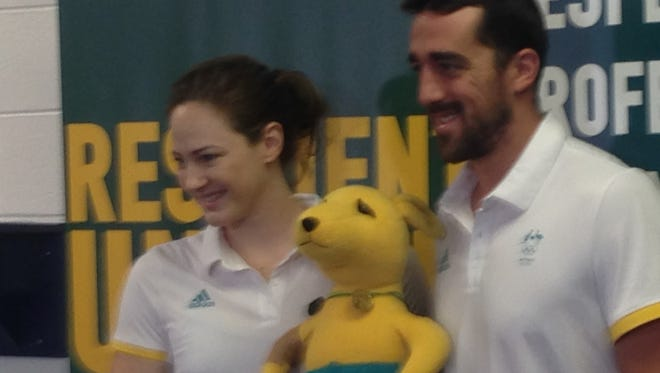 Australia world record swimmer Cate Campbell, with teammate Matt Abood, during media day at Auburn University on July 27.