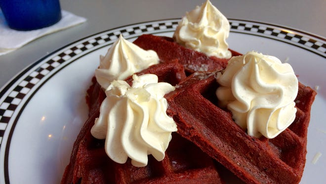 Red velvet waffles from Flat Top Larry's in downtown Fort Myers.