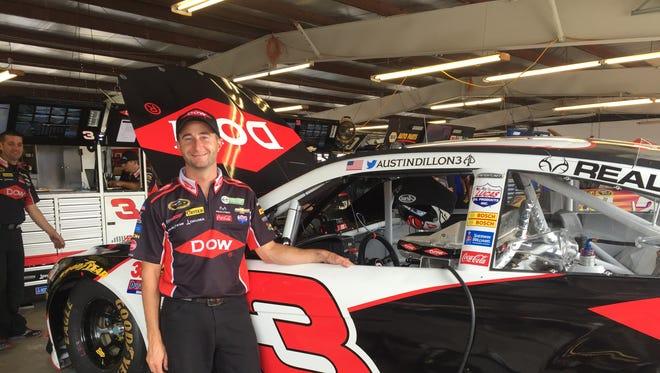 Adam Brown, an interior mechanic for the No. 3 Richard Childress Racing Team's NASCAR Sprint Cup Series car.
