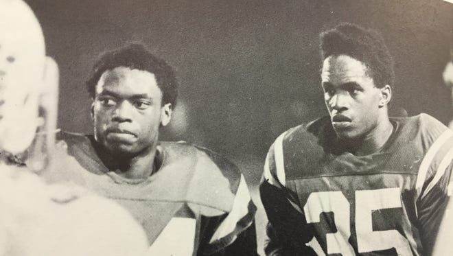 Wyoming's top two running backs 1977 and 1978: Frank Jacobs (left) and Jeff Dennis.