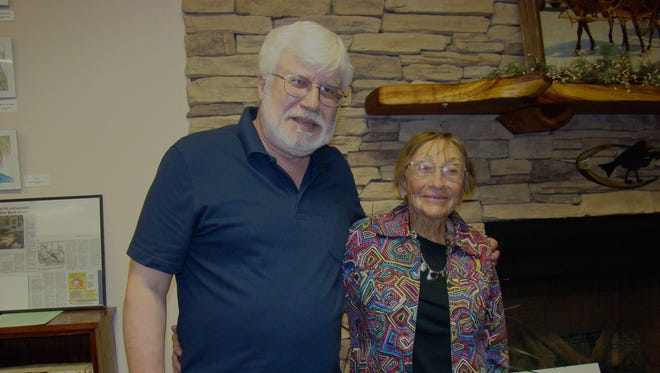 Dorothy Leslie Payne, Carrizozo and book author Dr. Richard Melzer visit after his CCC presentation at Capitan Public Library. His talk was a First Friday project of the library.