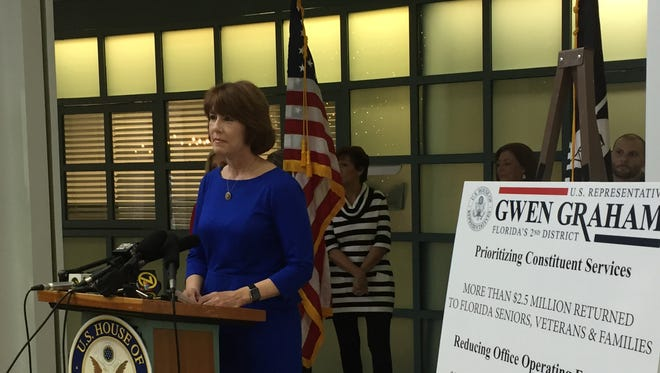 Congresswoman Gwen Graham held her final news conference Monday at Tallahassee City Hall
