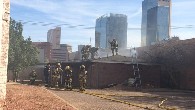 A four-unit apartment building in downtown Phoenix was damaged in a fire Dec. 20, 2016.